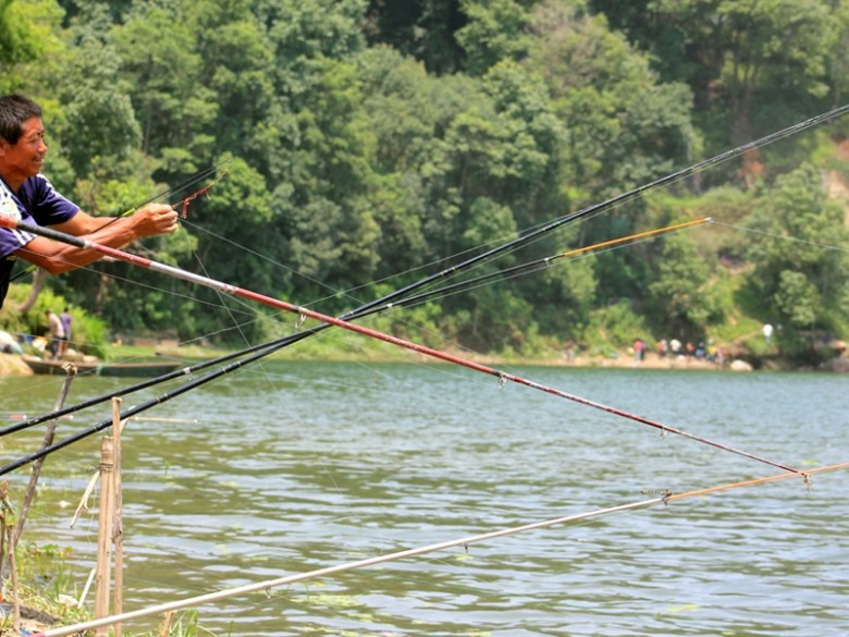 Fishing in Pokhara