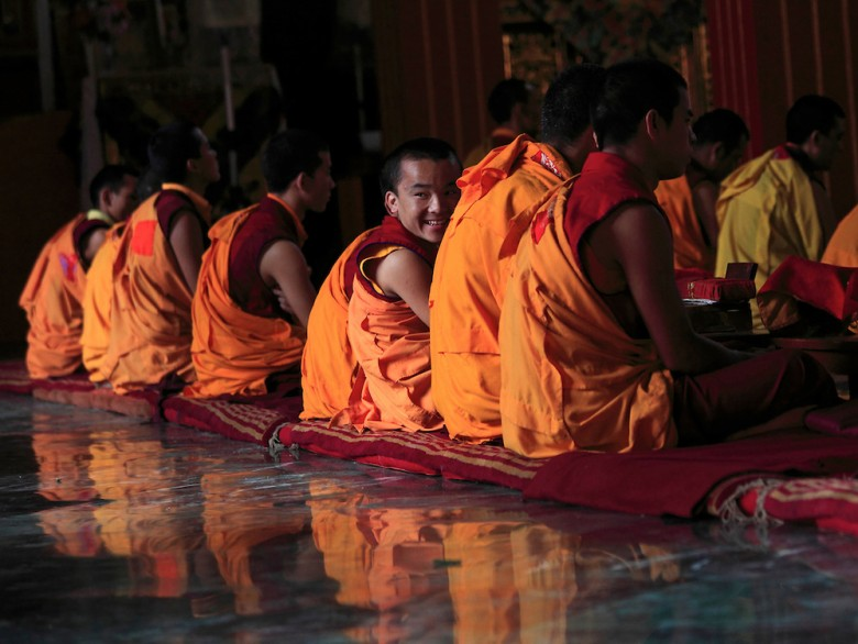 Buddhist monks in a monastry in Kathmandu